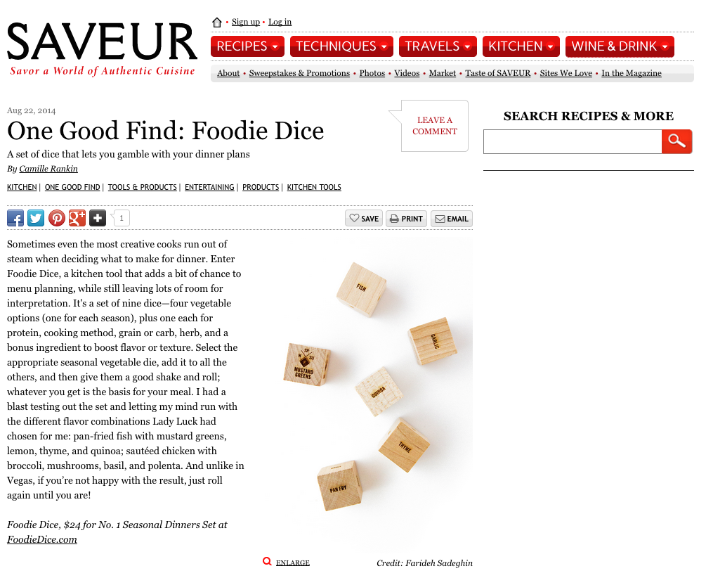 Foodie Dice_Saveur Clipping